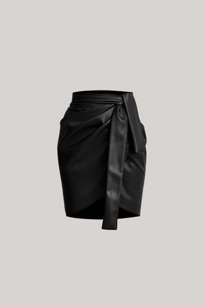DRAPED VEGAN LEATHER SHORT SKIRT