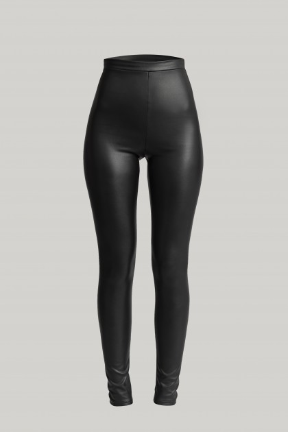 STRETCHY VEGAN LEATHER LEGGINGS