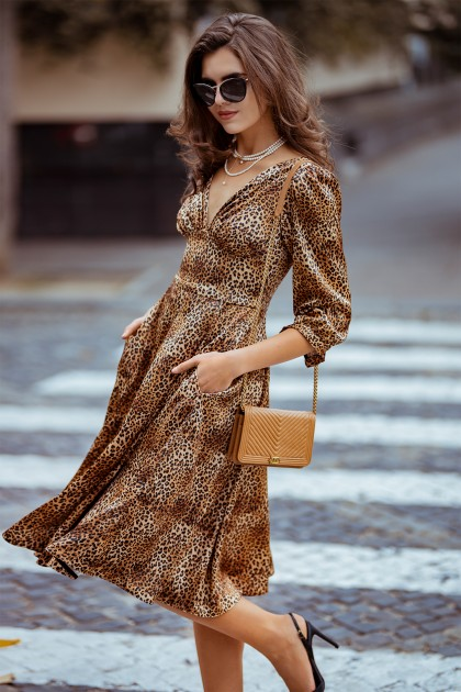 ANIMAL PRINT FLARED MIDI DRESS