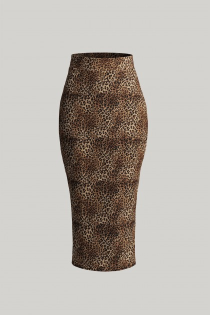 CHEETAH PENCIL MIDI SKIRT