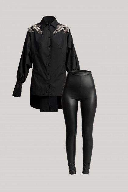 PRECIOUS EMBROIDERED SHIRT & VEGAN LEATHER LEGGINGS SET