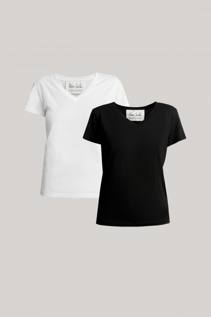 V-NECK ORGANIC COTTON T-SHIRT SET