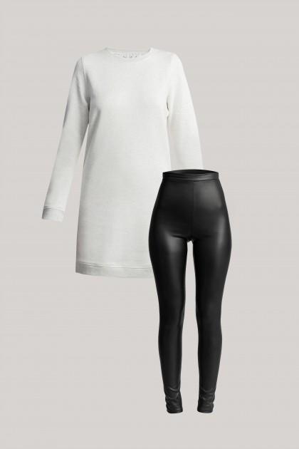 SWEATSHIRT DRESS & VEGAN LEGGINGS