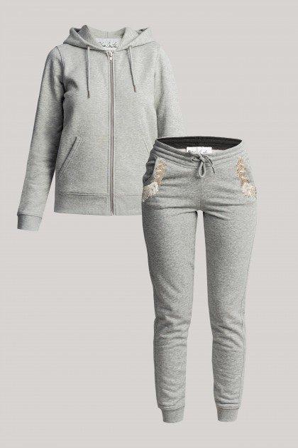BASIC GREY HOODIE SWEATSHIRT & EMBROIDERED GREY TRACK PANTS