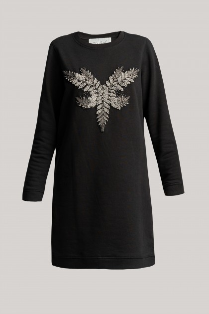 FRONT EMBROIDERED SWEATSHIRT DRESS