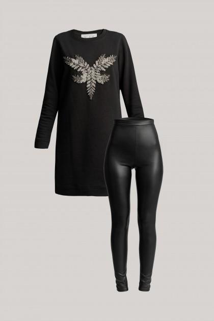 FRONT EMBROIDERED SWEATSHIRT DRESS & VEGAN LEATHER LEGGINGS
