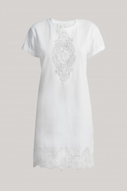 LACE EMBROIDERED T-SHIRT DRESS