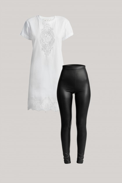 LACE EMBROIDERED T-SHIRT DRESS & VEGAN LEATHER LEGGINGS SET
