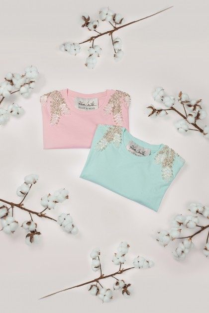 MINT & PINK ANGEL WINGS T-SHIRTS SET