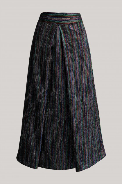 DARK METALLIC MIDI SKIRT