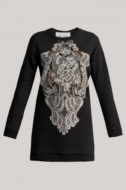 SWAROVSKI AND LACE EMBROIDERED BLACK SWEATSHIRT DRESS