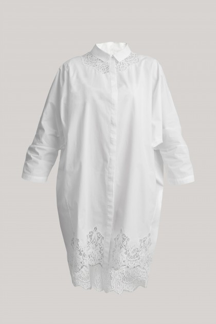 LACE INSERTS COTTON SHIRT
