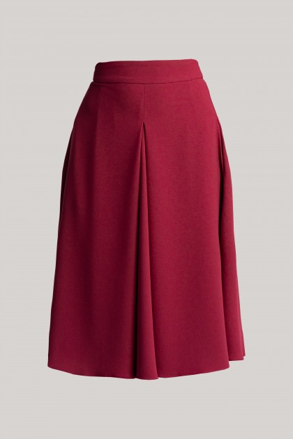 SOLID CREPE MIDI HIGHT-WAISTED SKIRT