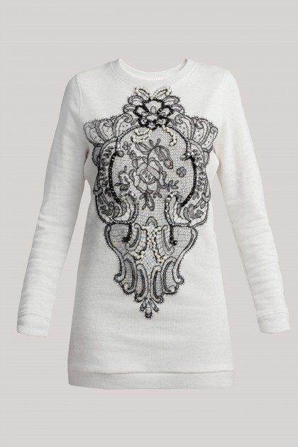 SWAROVSKI AND LACE EMBROIDERED ASH GREY SWEATSHIRT DRESS