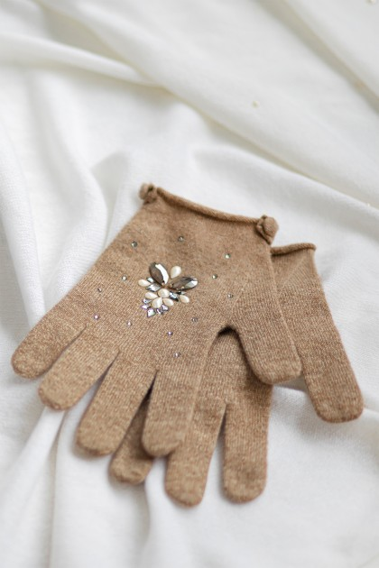 SWAROVSKI EMBROIDERED SHORT CASHMERE GLOVES
