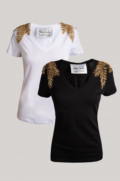 ANGEL WINGS SHOULDER V-NECK T-SHIRTS SET