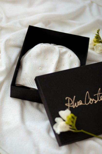 PEARL EMBELLISHED BIJOUX CASHMERE BEANIE