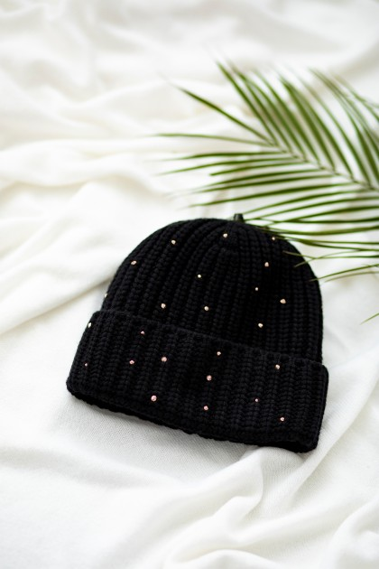 SWAROVSKI CRYSTALS EMBROIDERED CASHMERE HAT