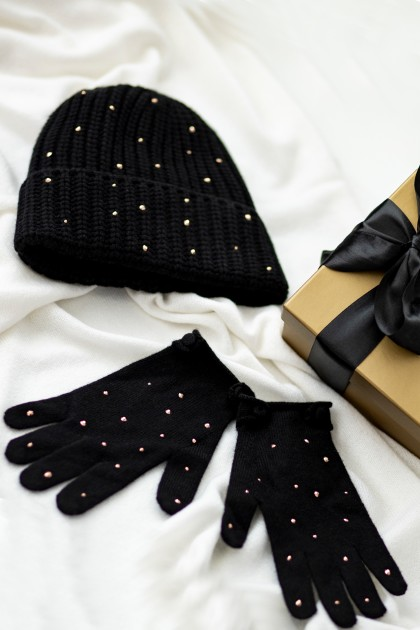 PRECIOUS SWAROVSKI EMBROIDERED SHORT GLOVES AND HAT CASHMERE SET