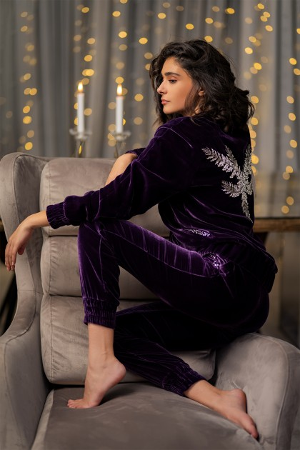 RICH ANGEL EMBROIDERED VELVET HOODIE
