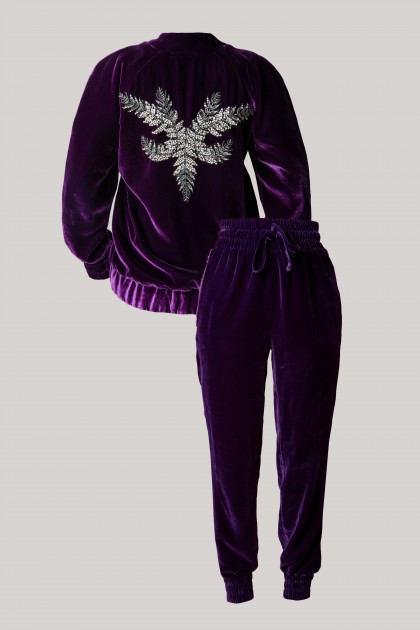 RICH ANGEL EMBROIDERED VELVET HOODIE & CONIC VELVET PANTS SET