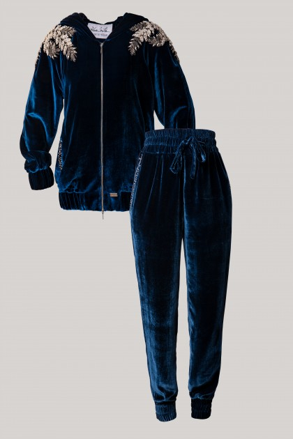 PRECIOUS CRYSTAL EMBROIDERED HOODIE & CONIC EMBROIDERED VELVET PANTS SETS