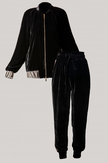 RICH VELVET BOMBER JACKET & CONIC VELVET PANTS SET