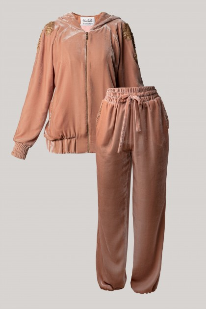 PRECIOUS VELVET EMBROIDERED HOODIE & RICH CONIC VELVET PANTS SET