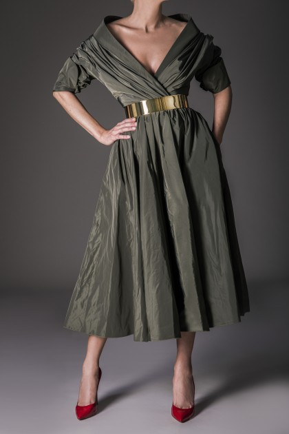 PRECIOUS TAFFETA MIDI DRESS
