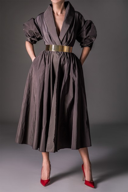 IMPOSING TAFFETA MIDI DRESS