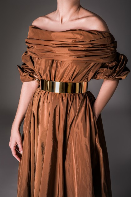 NOBLE MIDI TAFFETA DRESS