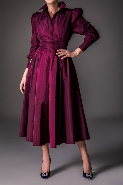 STATELY MIDI TAFFETA DRESS