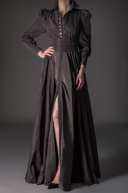 IMPRESSIVE EMBROIDERED TAFFETA DRESS