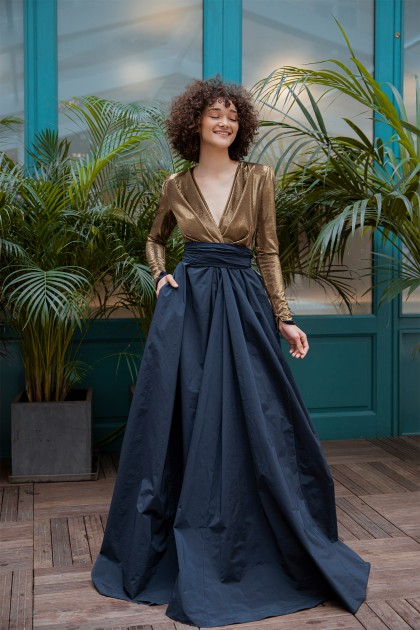 REGAL TAFFETA LONG DRESS