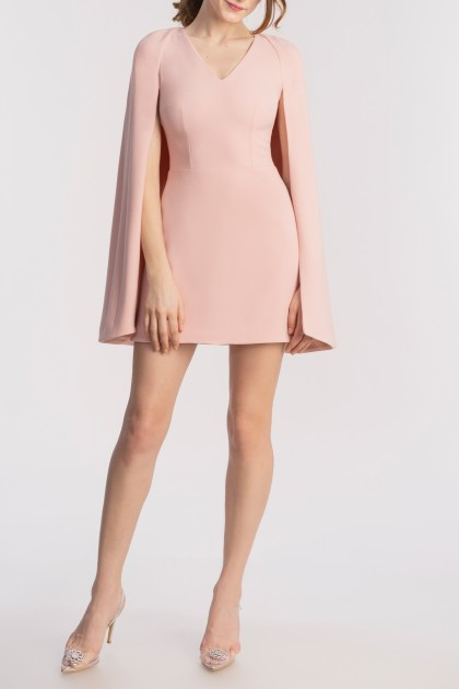 STRUCTURED CAPE-EFFECT SHORT DRESS