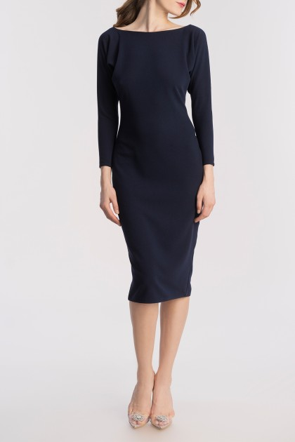 ELEGANT MIDI CREPE DRESS & ZIPPER AT THE BACK
