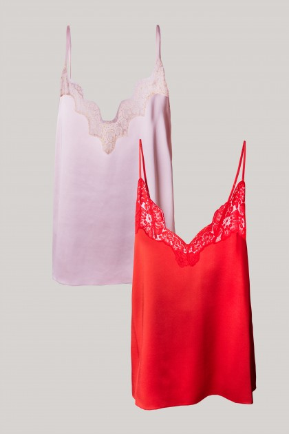 SUAVE SATIN RED & PINK TOP SET