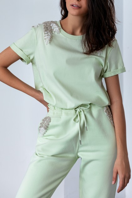 PISTACHIO ANGEL WINGS SHOULDER CLASSICAL NECKLINE T-SHIRT