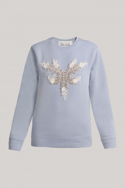 SKY BLUE SWEATSHIRT WITH FRONT CRYSTAL EMBROIDERY