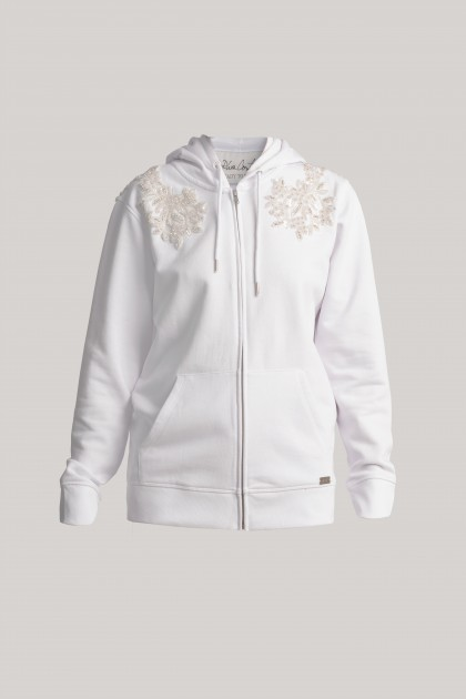 RICH EMBROIDERY HOODIE WITH ZIPPER