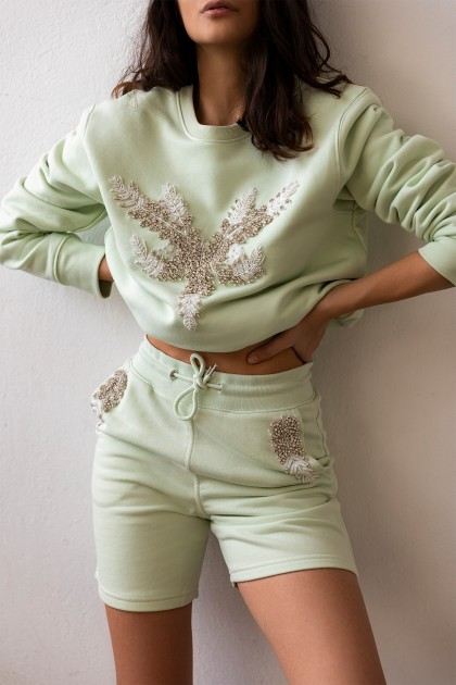 SHORT EMBROIDERED PANTS