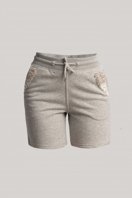 BASIC COLOUR EMBROIDERED SHORT PANTS