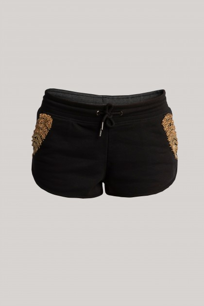 EXTRA SHORT GOLD EMBROIDERED PANTS