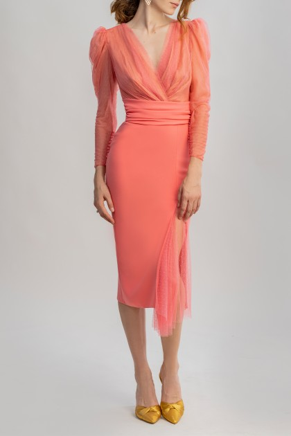 APPEALING CORAL POLKA DOTS MIDI DRESS