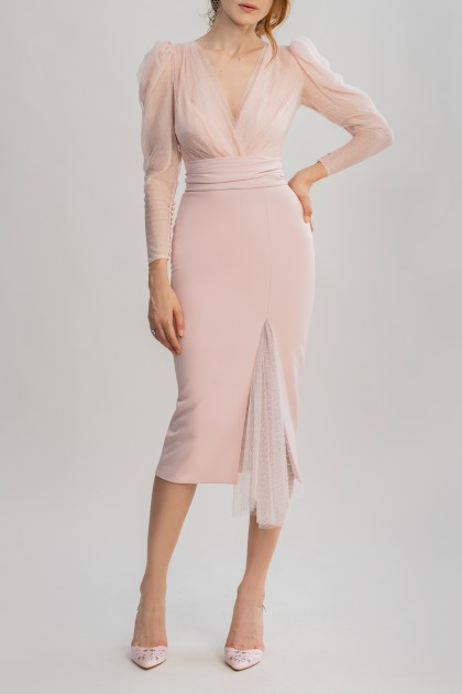 APPEALING NUDE ROSE POLKA DOTS MIDI DRESS