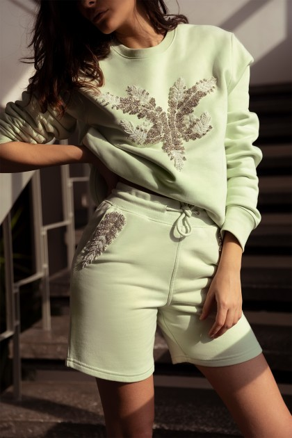SWEET PISTACHIO SWEATSHIRT WITH FRONT CRYSTAL EMBROIDERY