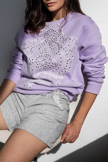 SWAROVSKI AND LACE EMBROIDERED LAVENDER SWEATSHIRT
