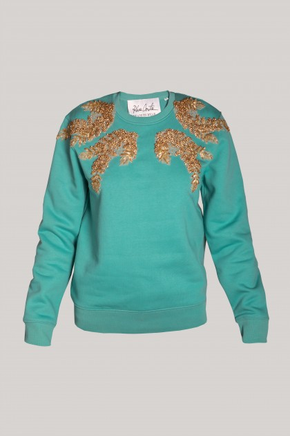 RICH EMBROIDERED TEAL SWEATSHIRT