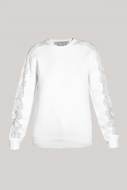 LACE INSERTS NATURAL WHITE SWEATSHIRT
