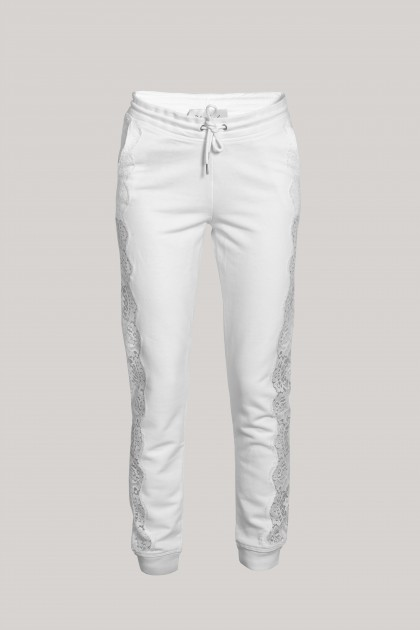 LACE INSERTS COMFY PURE WHITE TRACK PANTS